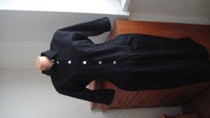 F&F Gabardina tipo vestido negro-blanco Lino