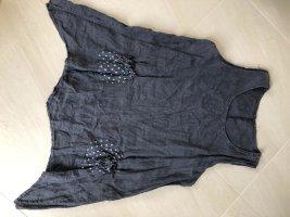 Sukienka tunika ciemnoszary-stalowy niebieski Len