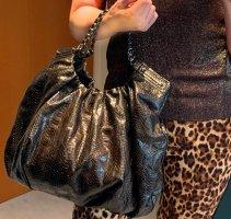 LELYA Snakeskin Handtasche aus echtem Schlangenleder, braunschwarz, Kettenhenkeln