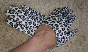 Rękawiczki z imitacji skóry biały-czarny