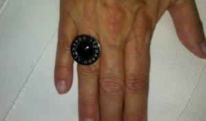 Leonardo Bague incrustée de pierres noir-argenté tissu mixte