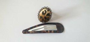 LEOPARD Leo Muster Schmuck Set Ring und Haarspange