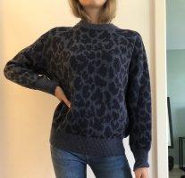 Leoparden Pullover in Blau/Dunkelblau