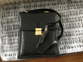 Briefcase black-dark yellow leather