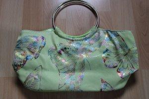 *letzte Reduzierung* kleine grüne Handtasche mit Schmetterlingen in Regenbogenfarben