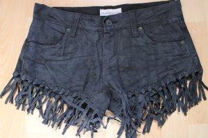 Denim & Supply Ralph Lauren Hot Pants black leather