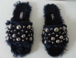 Miu Miu Pantoffels zwart-donkerblauw