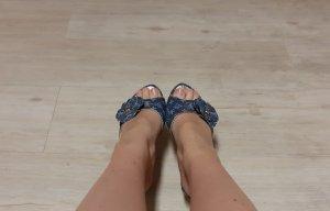 Louis Vuitton Plateauzool Sandalen met Hoge Hakken blauw