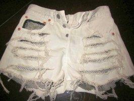 LEVI STRAUSS LEVIS Sexy Hotpants destroyed Shorts DIY UNIKAT kurze Hose Shorts Jeansshorts High Waist creme hell beige Netz unterlegt Einsätze schwarz aufgerissen ANGESAGT W26 XXS XS 32 34
