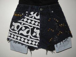 Levi's Jeansowe szorty czarny-biały Bawełna