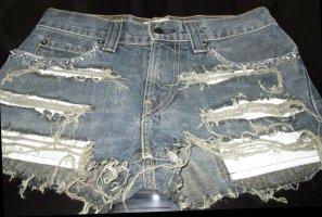 Levis Levi Blogger Jeans Hotpants Shorts kurze Hose dunkelbau Jeans Stachelnieten destroyed W30 Größe  38 40 M L