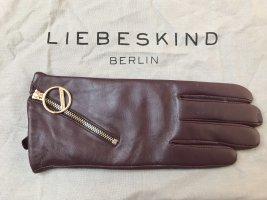 Liebeskind Berlin Damen Handschuhe Echtleder Lila Violett Royal Plum Gold Neu