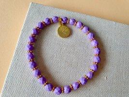 Lila Armband Boho Hippie Perlen Lebensbaum Gold