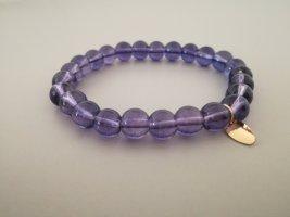 Bracelet en perles gris violet