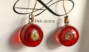 LINA AUSTE Designer Glas Silber Ohrringe Schmuck Uhrwerk Zahnrad Steampunk
