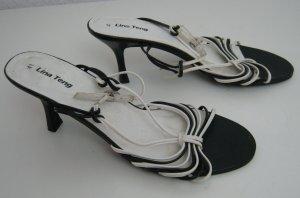 Lina Teng Riemchen Sandalette Größe 41 Schwarz Weiß