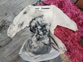 LINEA TESINI by Heine ♥ Wunderschöne Bluse, Tunika, blickdicht, oversized, 3/4 Ärmel, Motiv, Pailetten am Ärmel Gr. 34 XS