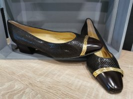 Linea Wally's Ballerinas with Toecap gold-colored-dark brown