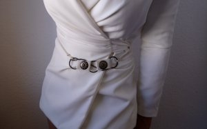 Vintage Cintura con catena multicolore Tessuto misto