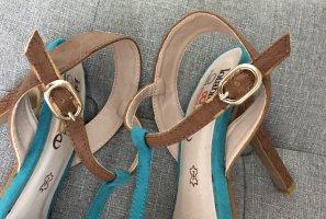 LolaBlue Sandalo con tacco alto e lacci a T bronzo-azzurro
