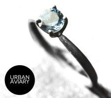 Srebrny pierścionek stalowy niebieski-srebrny