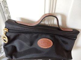 Longchamp Kosmetiktasche Pliage Kulturbeutel schwarz/braun 19x10x6cm NEU