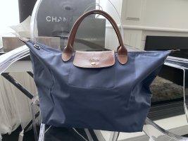 Longchamp Le Pliage Original M Modele Depose Blau kurze Henkel
