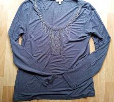 123 Paris Koszulka z długim rękawem szary-ciemnoszary Wiskoza