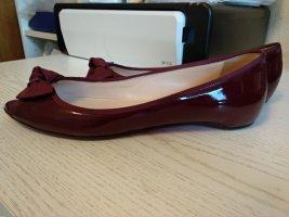 Christian Louboutin Peep Toe ballerina's karmijn-donkerrood