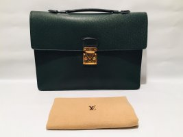 Louis Vuitton Briefcase dark green-gold-colored leather