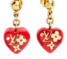 Louis Vuitton Pendientes colgante color oro-rojo