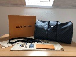 Louis Vuitton Weekendtas donkerbruin Linnen