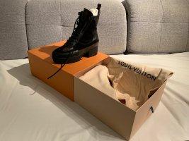 Louis Vuitton Sznurowane botki czarny-brąz Skóra