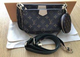 Louis Vuitton Gekruiste tas zwart-bruin Leer