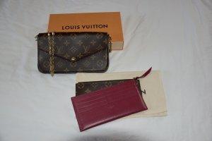 Louis Vuitton Enveloptas brons-framboosrood Leer