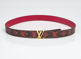 Louis Vuitton Cinturón reversible color bronce-rojo frambuesa