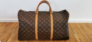 Louis Vuitton Sac de voyage brun tissu mixte
