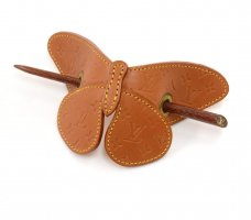 Louis Vuitton Hair Pin light brown leather
