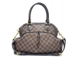 Louis Vuitton Trevi PM Damier Handtasche Henkeltasche Braun Canvas + Box