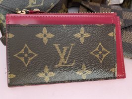 Louis Vuitton Porte-cartes brun-rouge framboise lin