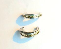 Lumani - halbe Creolen mit grünen Zirkonia - Silber 925er - NEU