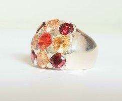Lumani Silber Ring - Rot Orange Zikonia - Gr 52 - NEU - 925er Sterlingsilber