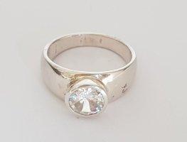Lumani Silber Ring - Weißer Zikonia rund - Gr 60 - NEU - 925er Sterlingsilber