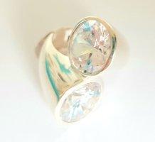 Lumani Silber Ring XL geschwungen - Weiß Zikonia - Gr 58 - NEU - 925er