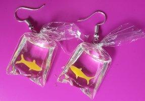 Lustige sommerliche Ohrringe 3D Fisch Ohrschmuck, Glas, Tüte Karikatur, abstrakt