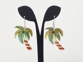 Lustige Vintage Palmen-Ohrringe aus Perlmutt handbemalt aus Ladenauflösung, 80er Jahre
