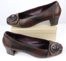 Luxus Braune Pumps Antik Leder Henry Beguelin Größe 38,5 Dunkelbraun Knopf Schuhe Schlüpfschuh Ballerina Patina