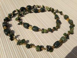 Luxus Hals Kette lang aus echten Verdit und Jade Edelstein grün Top