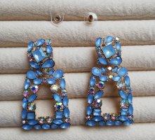 Luxus Statement Ohrringe groß Kristallsteine himmelblau blau