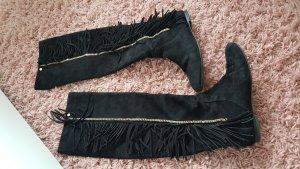 luxus stiefel overknees frindges schwarz  goldene hardware